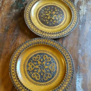 Carved wood plates